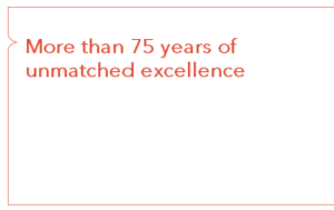 More than 70 years of unmatched excellence